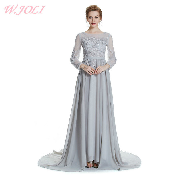 W.JOLI O-Neck Evening Dress Bride Banquet Elegant long prom dresses gala  2017 Wedding Lace Party Dress with Crytal Embroidery 88ed00bf3cba