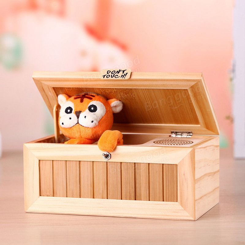 Wooden Electronic Useless Box with Sound Cute Tiger Funny Toy Gift for Kids Interactive Toys Stress-Reduction Desk Decoration