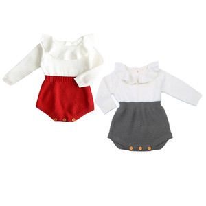 Pudcoco Red Newborn Baby Girl Wool Cotton Knitting Top Patchwork Bodysuit Long Flying Sleeves Warm Sweater Outfits Clothe 2017(China)