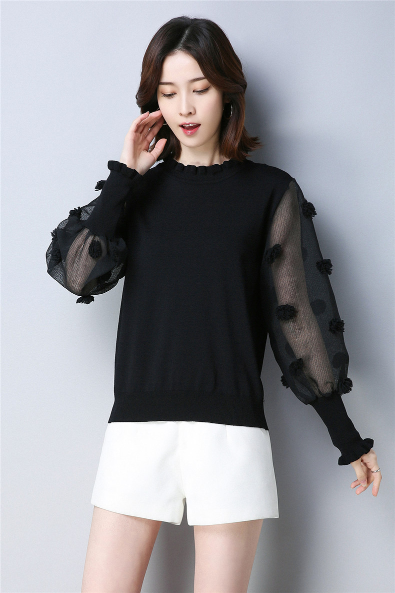 f60242b00756 XJXKS women s sweaters and pullovers 2018 spring new fungus lace ...
