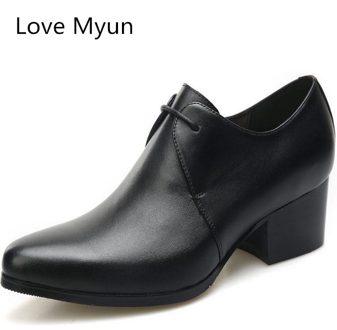 New Fashion high heels mens genuine leather career work shoes men height increase fashion oxford wedding