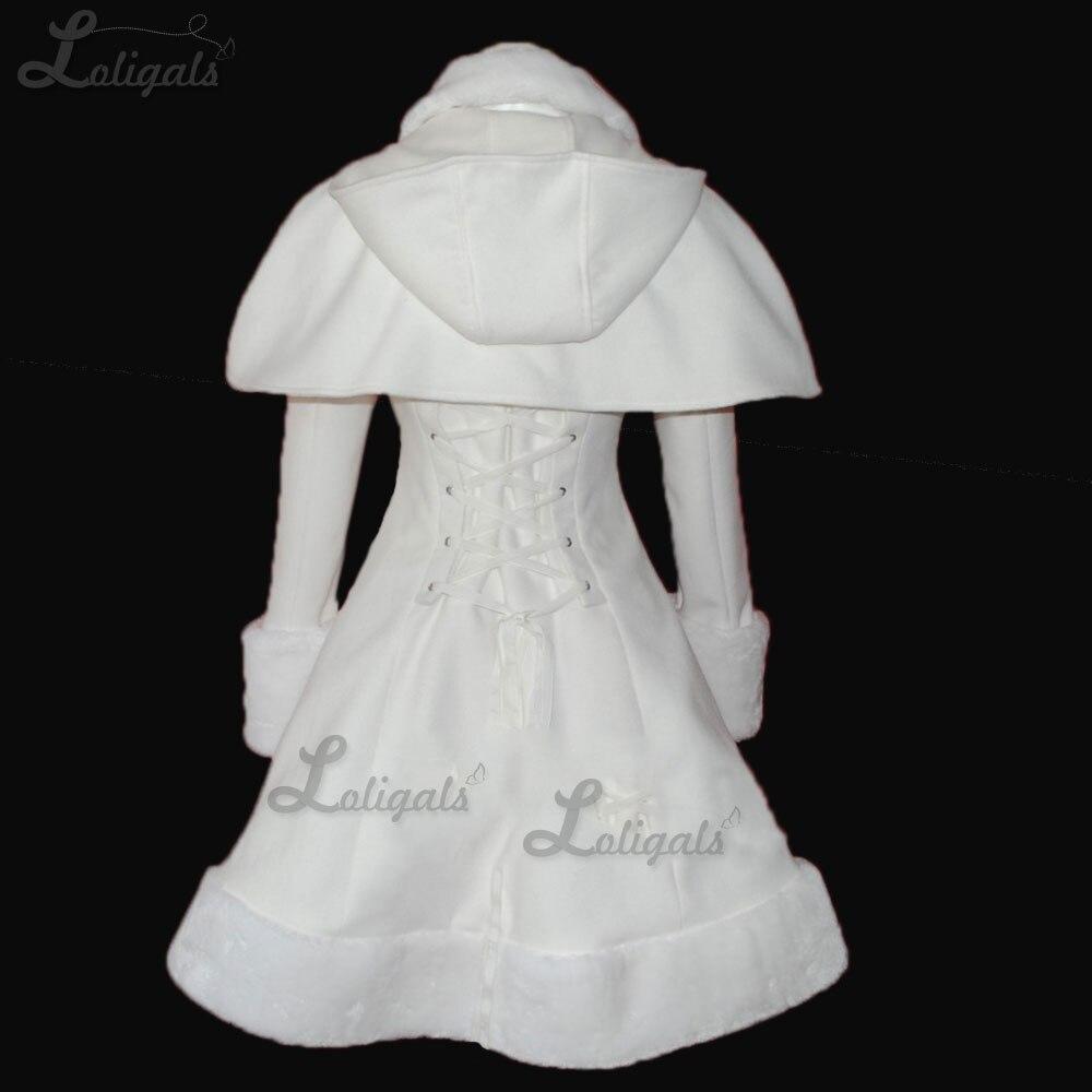 Słodkie kobiety ciepłe długie płaszcz dziewczyny biały Lolita płaszcz zimowy z peleryna Plus rozmiar do potrzeb klienta abrigos mujer elegante w Wełna i mieszanki od Odzież damska na  Grupa 2