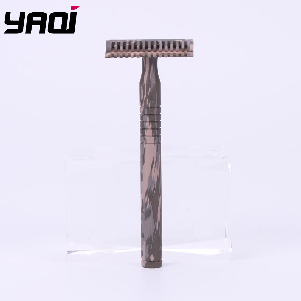 Yaqi Camouflage Color Brass Handle 3 Pcs Men Safety Razor