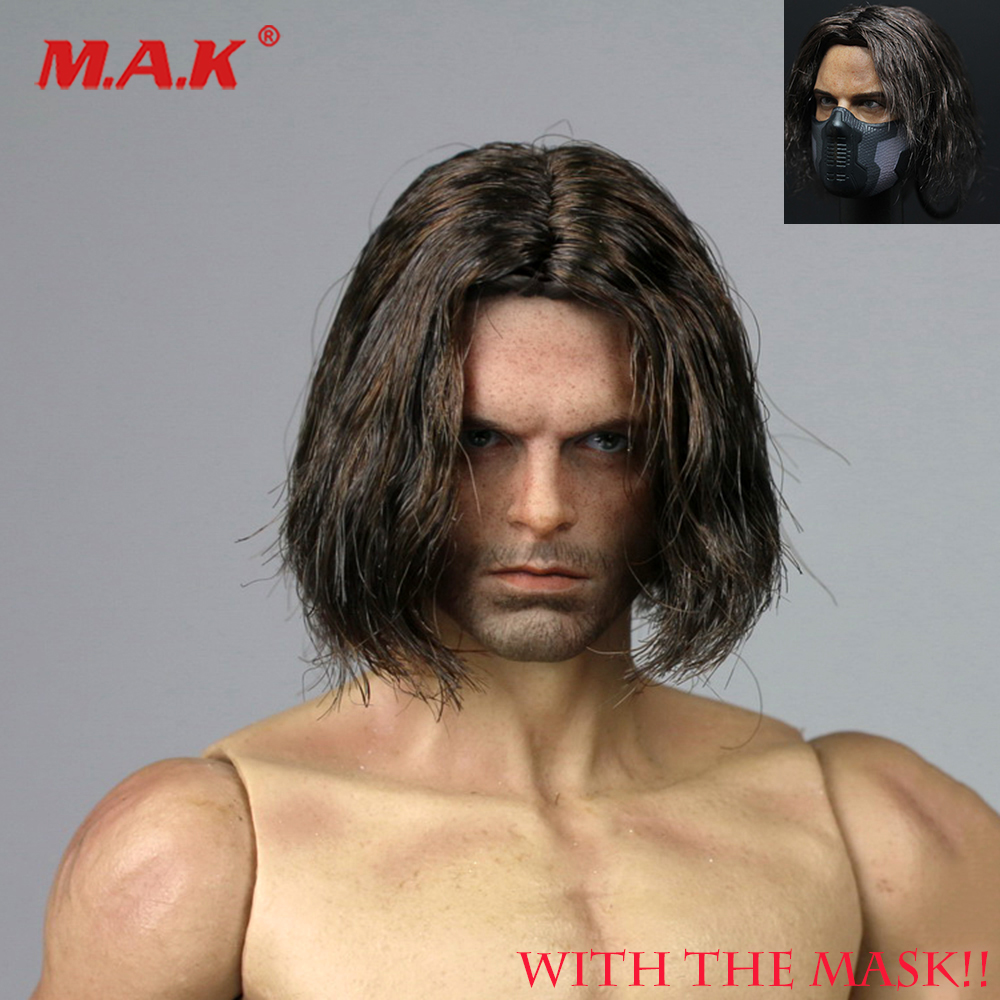 "1/6 Planted Hair Head Winter Soldier Bucky James Buchanan Barnes 2.0 Head Carved W The Mask For 12"" Doll Action Figure Accessory"