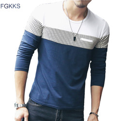 Fgkks new arrival fashion t shirt men brand long sleeve patchwork striped t shirts mens casual.jpg 250x250