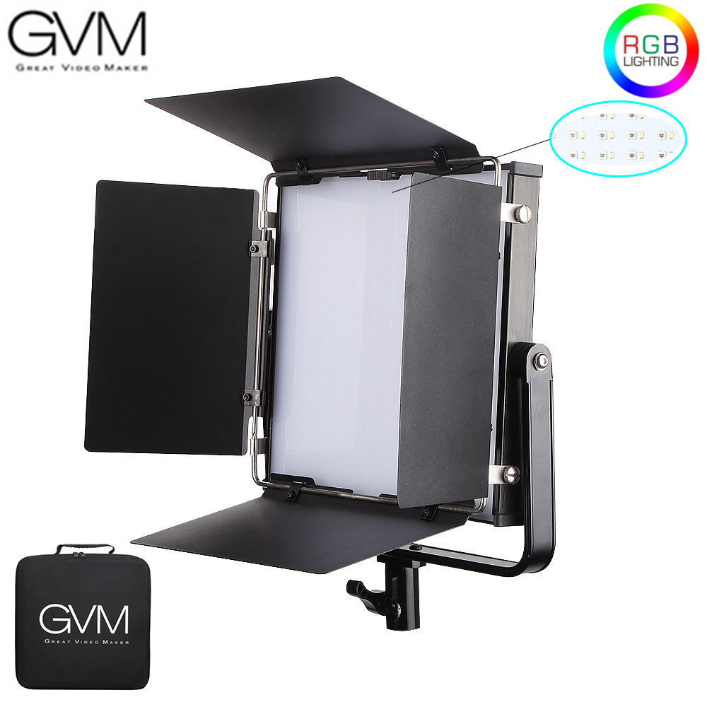 GVM 50RS RGB LED Video Light Full Color CRI TLCI 95+ Bi Color 2000K-5600K Adjustable For Studio Photography With Barn-Door & Bag