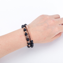 2PCS/Set 8mm Elastic Rope Bead Hematite Bracelet Fashion Men Women Charm Jewelry Matte Black Natural Stone