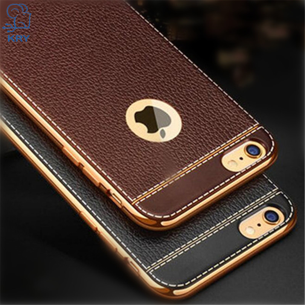 Galleria fotografica KRY Litchi Grain Phone Cases For iPhone 6 Case 6 Plus Luxury TPU Cover For iPhone 6S Case 6S Plus Cases Plating Frame Capa Coque