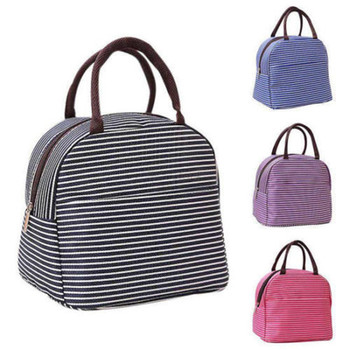 Leisure Women Portable Lunch Bag Canvas Stripe Insulated Cooler Bags Thermal Food Picnic Lunch Bags Kids Lunch Box Bag Tote oxford thermal lunch bag insulated cooler storage women kids food bento bag portable leisure accessories supply product stuff