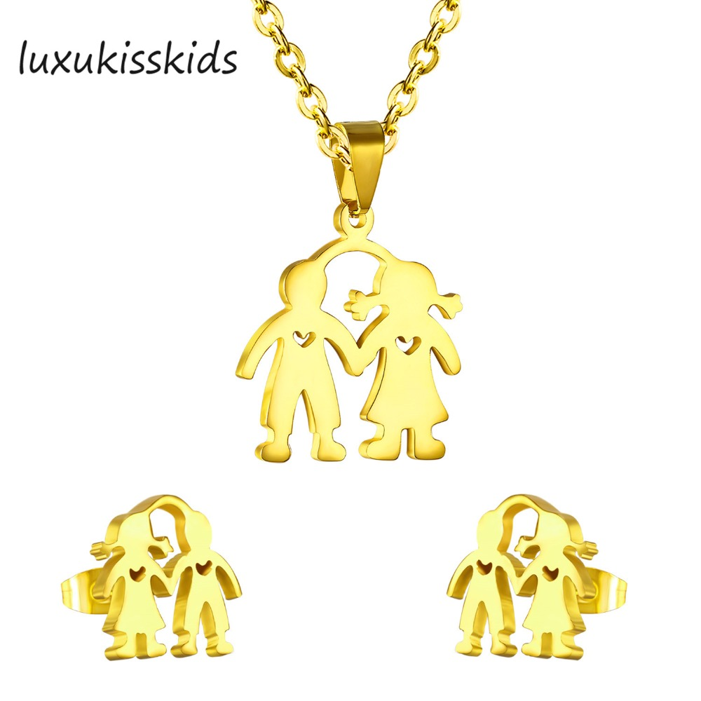 LUXUKISSKIDS Jewelry Sets boy and girl bridal love token jewelry sets with hollow heart for men and women necklace and earrings