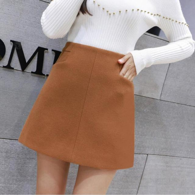 3a7700f455 2018 moda Otoño Invierno mujeres lana falda alta cintura Mini Falda Mujer  Casual Falda corta faldas
