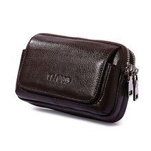 Men Leather Waist Fanny Pack Horizontal Vertical Belt Bag Phone Pouch Travel Small Purse