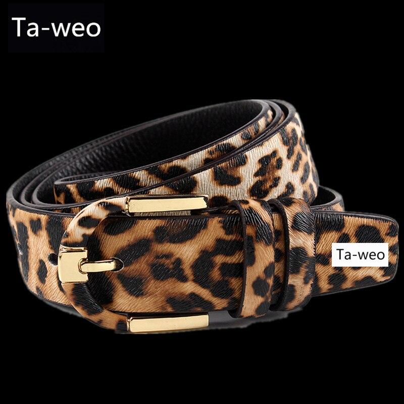 Fashion Women Dress   Belts  , Leopard Printed Genuine Leather   Belt   For Women, Brown & Black, Pin Buckle   Belt