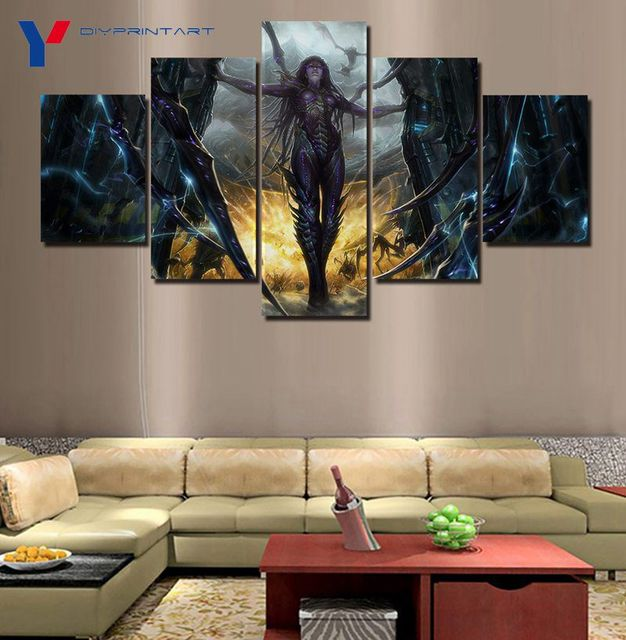 StarCraft 2 Heart of The Swarm Game Poster 5 Panels Art Painting Living Room Decoration A0096 1