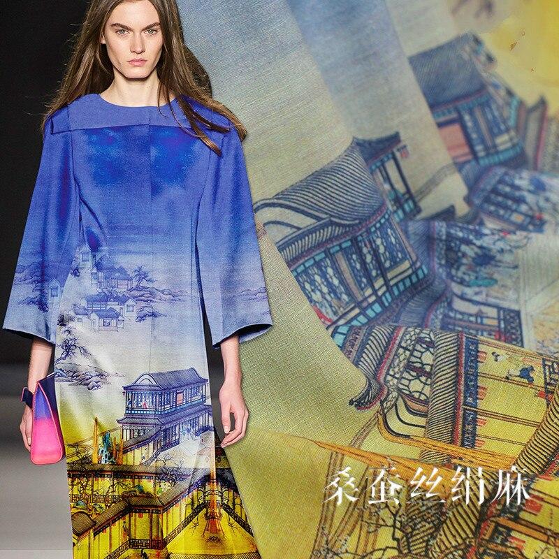 130 cm de large soie lin tissu 35mm pavillon impression soie ramie soie lin mélange tissu soie tissu matériel rétro