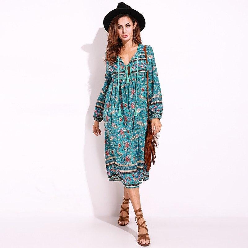 Chiffon Boho Women Floral Summer Beach Dress Deep V Neck Fashion Loose Vintage Casual Long Sleeve Elegant Vestidos Plus Size 5XL