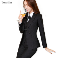 Lenshin 2 Pieces Set High Quality Black Soft Striped Pant Suits Office Lady Business Uniform Style