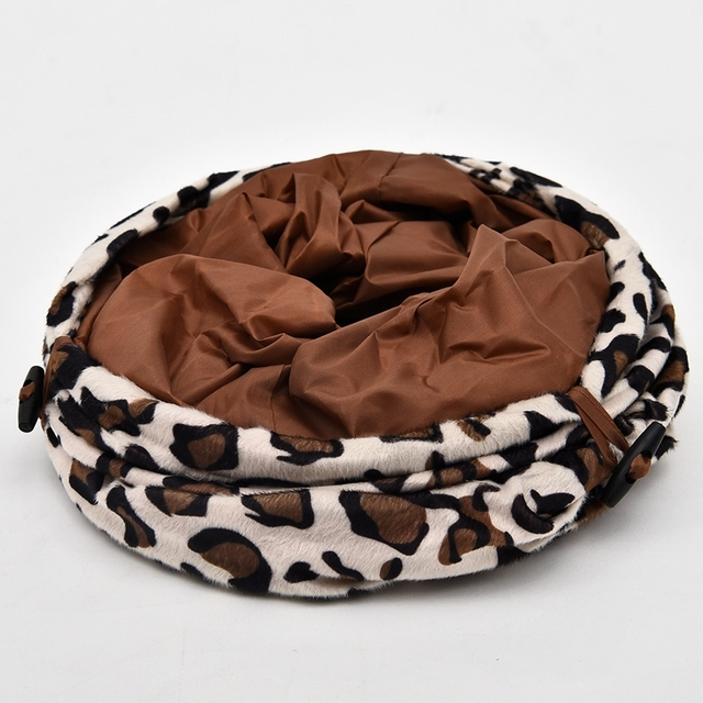 Leopard Cat Tunnel Cat Rabbit Toys Play Tunnel Collapsible Long Funny Cool Kitten Toys Length 90CM