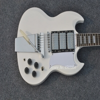 Custom shop,Three gold pickups with Long Verson Maestro Vibrola sg guitar with Pure white body,All Color are available,Very cool