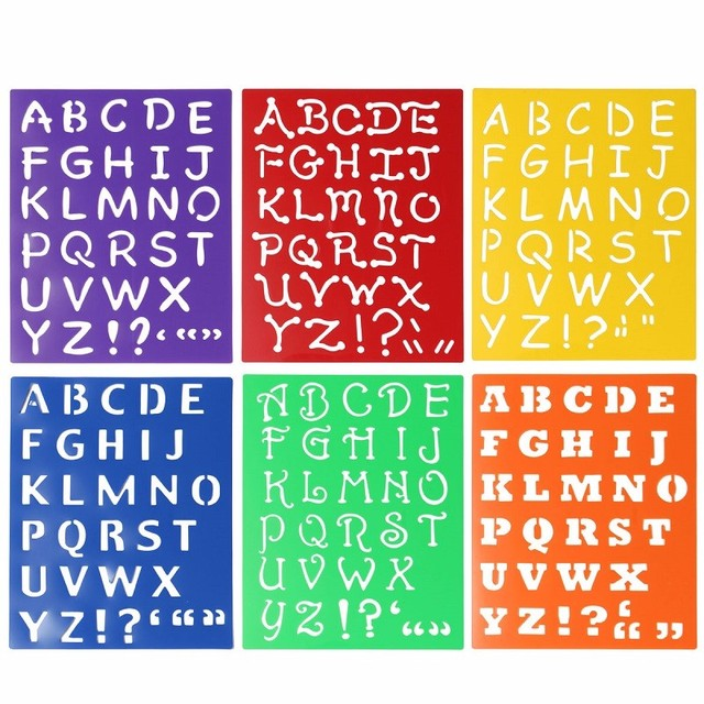 kids capitall alphabet letter drawing templates 6pcs washable stencils children educational toys plastic painting 277x215mm