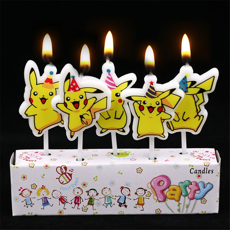 5Pcs/Set Cartoon Pokemon Go Theme Pikachu The New Creative Cartoon Birthday Candles Holiday Party Cake Decorating Party Supplies