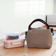 Leisure Women Portable Lunch Bag Canvas Stripe Insulated Cooler Bags Thermal Food Picnic Lunch Bags Kids Lunch Box Bag Tote цена 2017