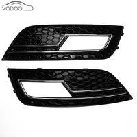 1 Pair Black Car Front Tail Bumper Bar Fog Lamp Cover Grilles Bumper Brake Light Covers