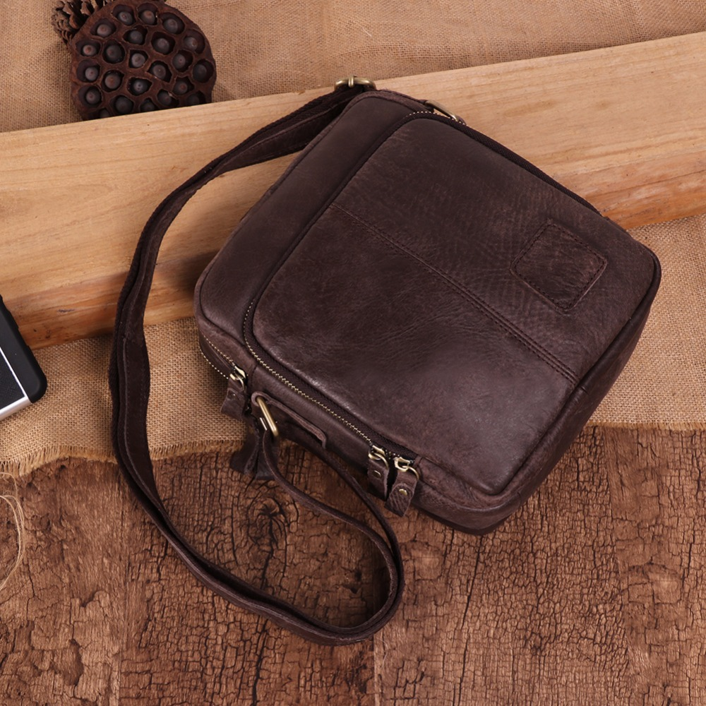 Vintage Men Genuine Leather Messenger Bag Flap Small Travel Business Crossbody Shoulder Bags For Men Male Bag Leather Handbags