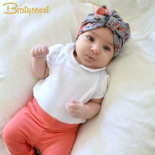New Floral Print Baby Girl Hat with Bow Cotton Bohemia Turban Infant Beanie Baby Cap 1 PC