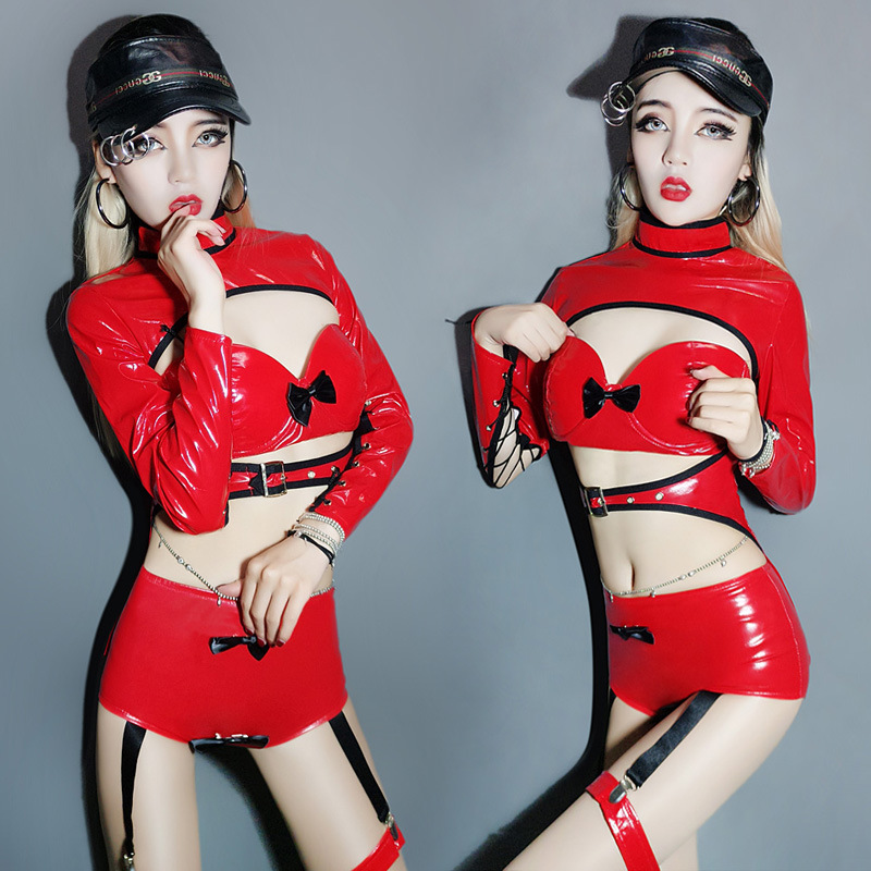 <font><b>2017</b></font> new nightclub DJ female singer red patent leather <font><b>sexy</b></font> <font><b>DS</b></font> costumes suit bandage performance <font><b>Bar</b></font> collar <font><b>dance</b></font> Wear outfit image