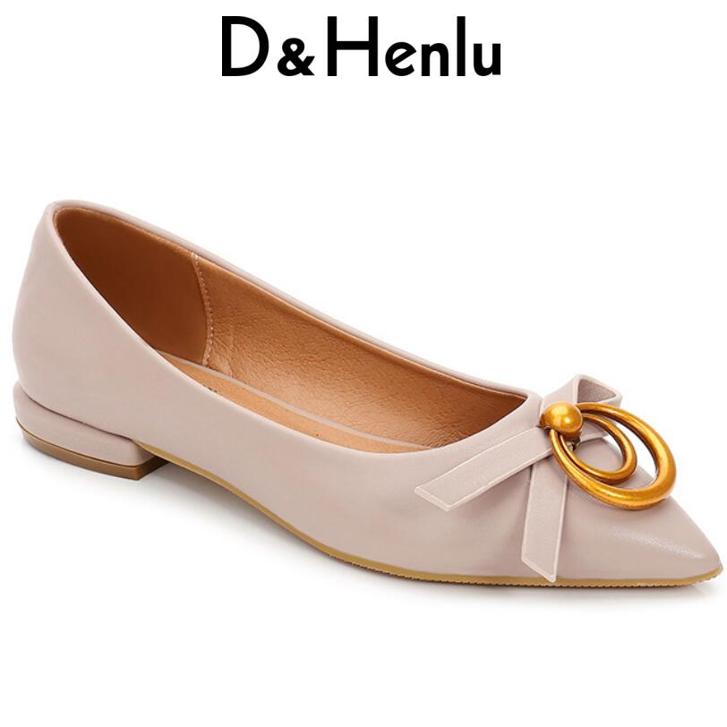 D&Henlu Pink Shoes Women Lace Bowtie Black Flats Shoes Women Casual Shoes New 2018 Spring Ballet Flats Pointed Toe zapatos mujer plus size 34 41 black khaki lace bow flats shoes for womens ds219 fashion round toe bowtie sweet spring summer fall flats shoes
