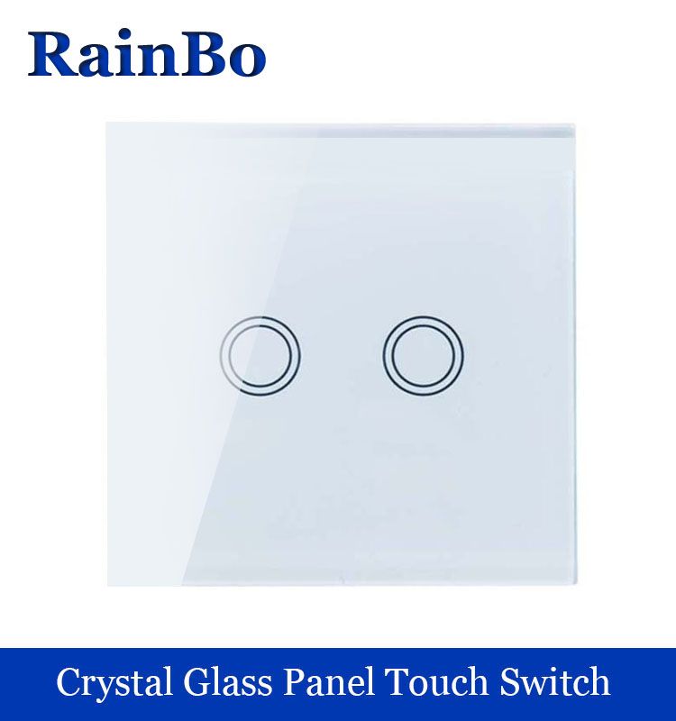 New Crystal Glass Panel wall switch EU Standard 110~250V Touch Switch Screen Wall Light Switch 2 gang 1 way White rainbo Brand touch smart home switch screen white crystal glass panel switch eu wall switch ac250v wall light switch 1 gang 1 way rainbo