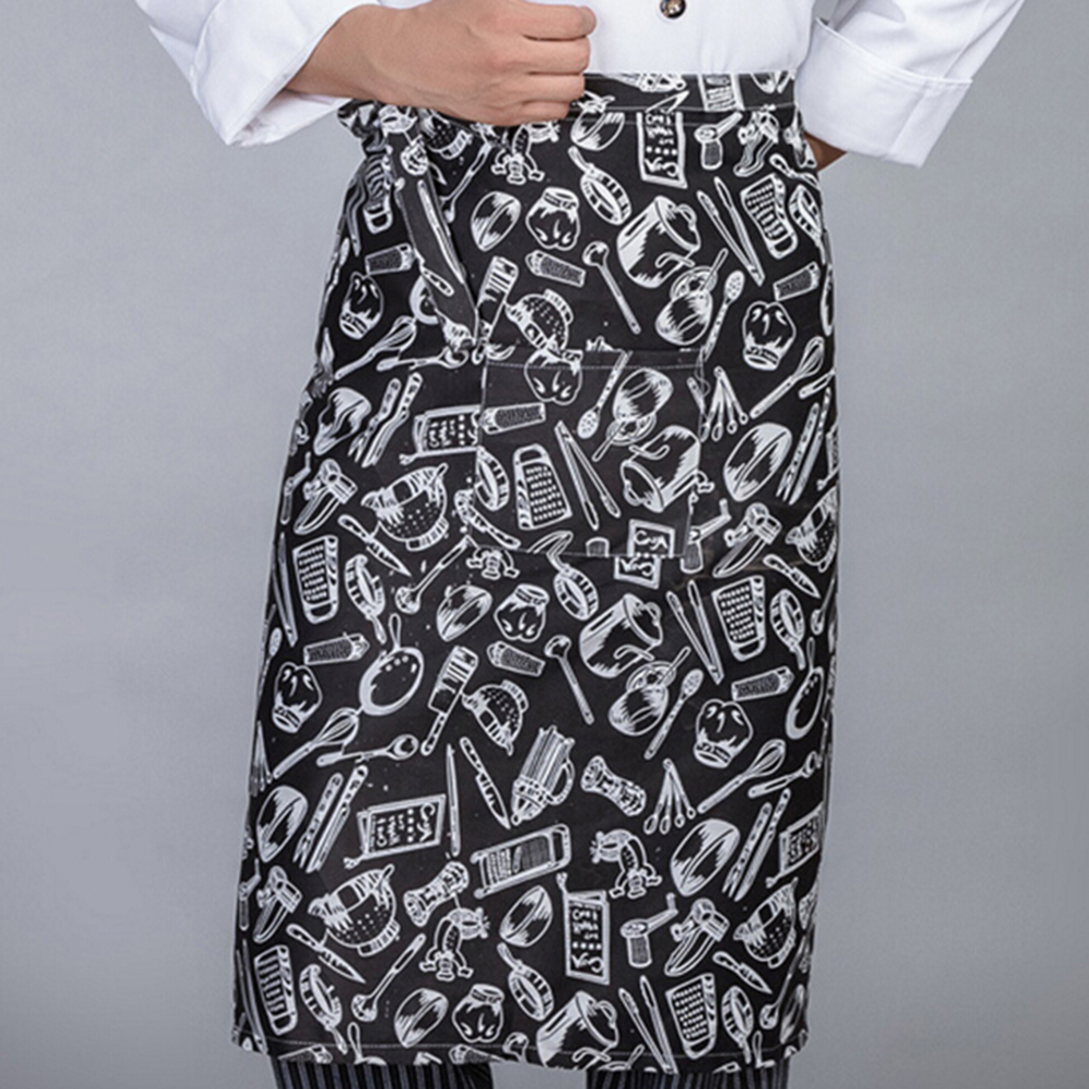 White half apron with pockets - Fashion Black White Stripes Squares Knief Fork Print Apron Half Apron With Pockets Chef Waiter Kitchen Cook Men Male Apron In Aprons From Home Garden On