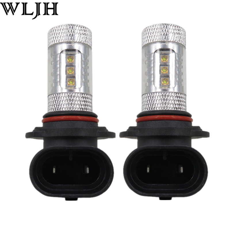 WLJH 2pcs Car Led 12v 24v 80W Power 9006 HB4 Led with Projector Lens Auto High Power Fog Light Driving Lamp Bulb