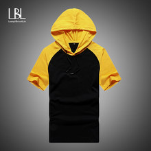 2019 Hoodies Men Summer Fashion Patchwork Short Sleeve Hooded Sweatshirt Men Hip Hop Tracksuit Mens Fitness Top camisa masculina(China)