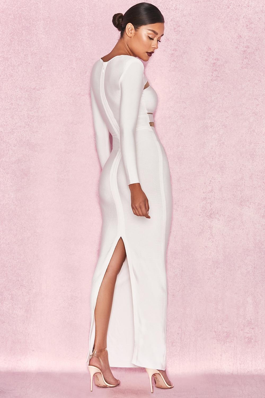 Soirée Sexy Spéciale Blanc Celebrity Festa Patchwork 2018 Robes Robe Offre Lacée Élégant Maxi Hiver De Split Femmes Longue CrdQexBoW