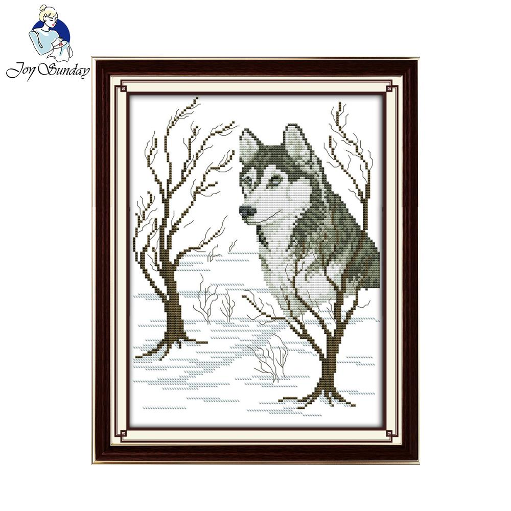 Joy Sunday Sled dog Pattern embroidery Needlework Stamped or Counted Cross Stitch Kit for home wall decor