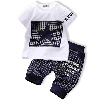 Boys clothing set Casual cotton Plaid with five-star print