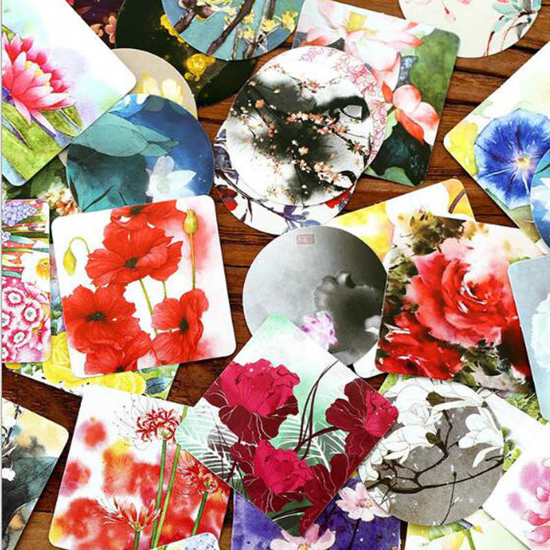 Купить с кэшбэком Flower Herbal Sticker Mobile Phone Album Scrapbooking Stickers DIY Hand Account Decorative Stickers Stationery Gifts  46PCS/box
