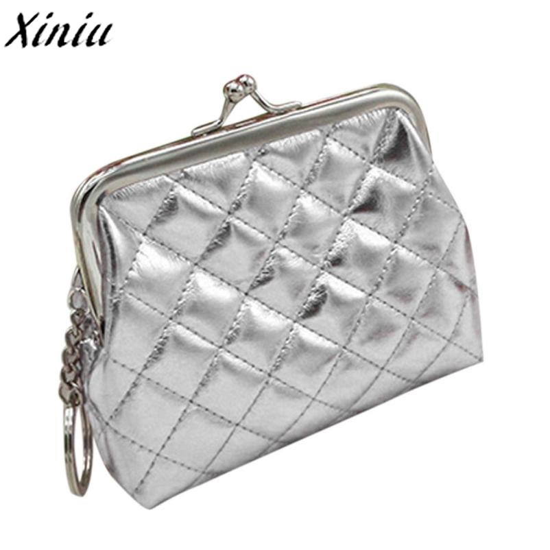 792716b47390 Women Coin Purse Lattice Partten Solid Color Leather Hasp Mini Wallet Card  Holder Handbag Monederos Mujer Monedas  7117-in Coin Purses from Luggage    Bags ...