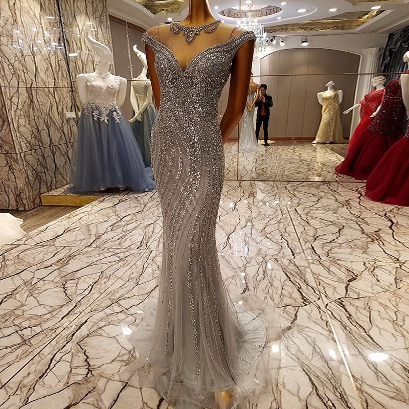 Ballkleider grey long evening party dress for graduation O neck prom dress backless sparkle mermaid prom dress