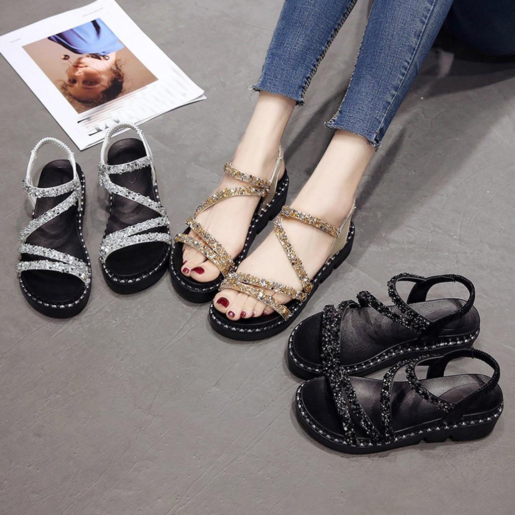 Sandals Rhinestone Wedge Beach-Shoes Crystal Elastic Fashion Summer Ladies Causal Big-Size