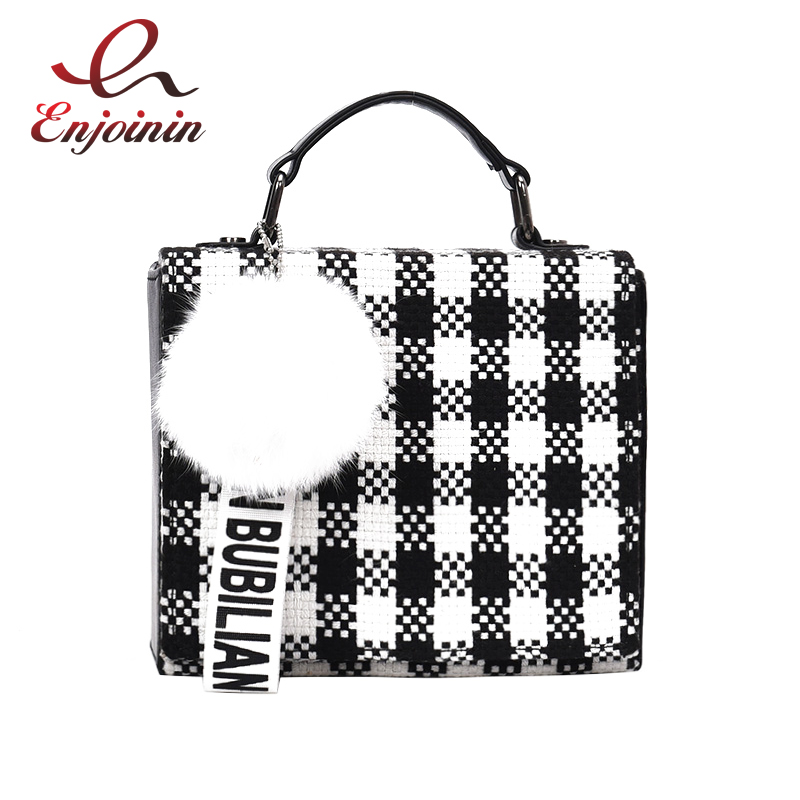 цена Box geometric pattern letter ornaments hair ball box shape ladies chain purse crossbody messenger bag handbag shoulder bag