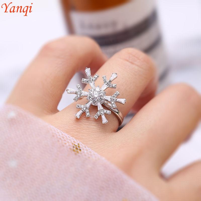 Модные Снежный Цветок поворот круг кольца кольцо-снежинка с кристаллом романтический цветочный палец женские регулируемые Кольца Открыты...
