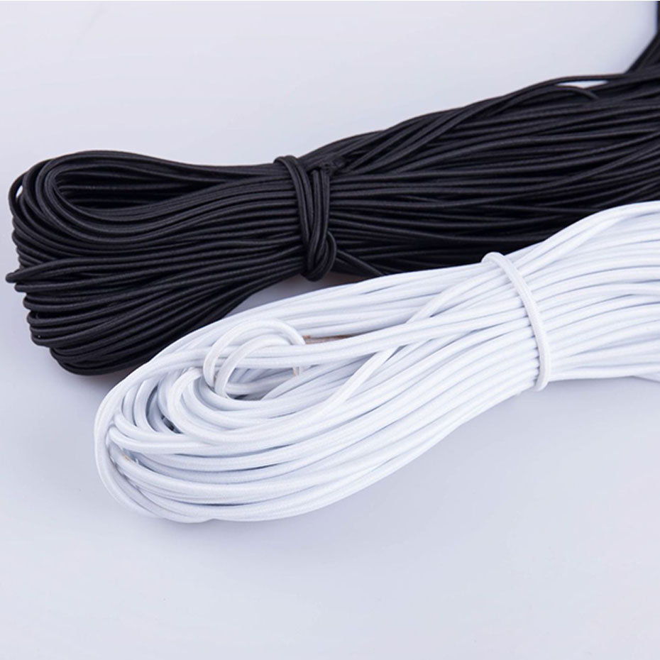 5 10 20 Yards Black White Elastic Cord 3mm Rubber Rope Stretch