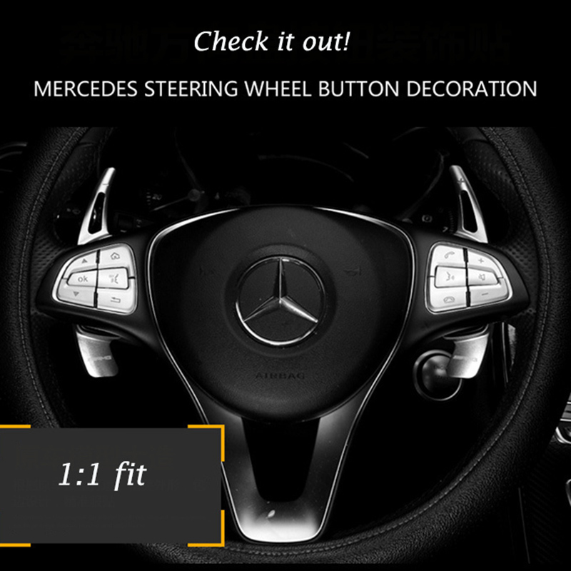 Abs chrome car steering wheel button decoration trim cover for Mercedes benz s550 car cover