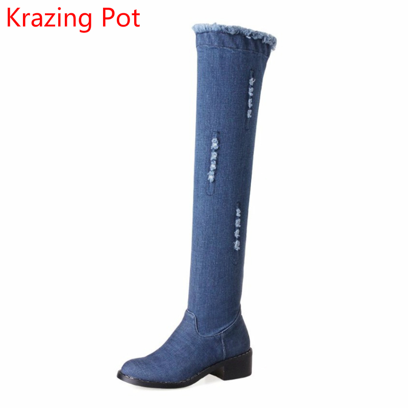 2018 New Arrival Denim Round Toe Big Size Elegant Thick Heel Fashion Winter Boots Keep Warm Superstar Over-the-knee Boots L3f1 купить дешево онлайн