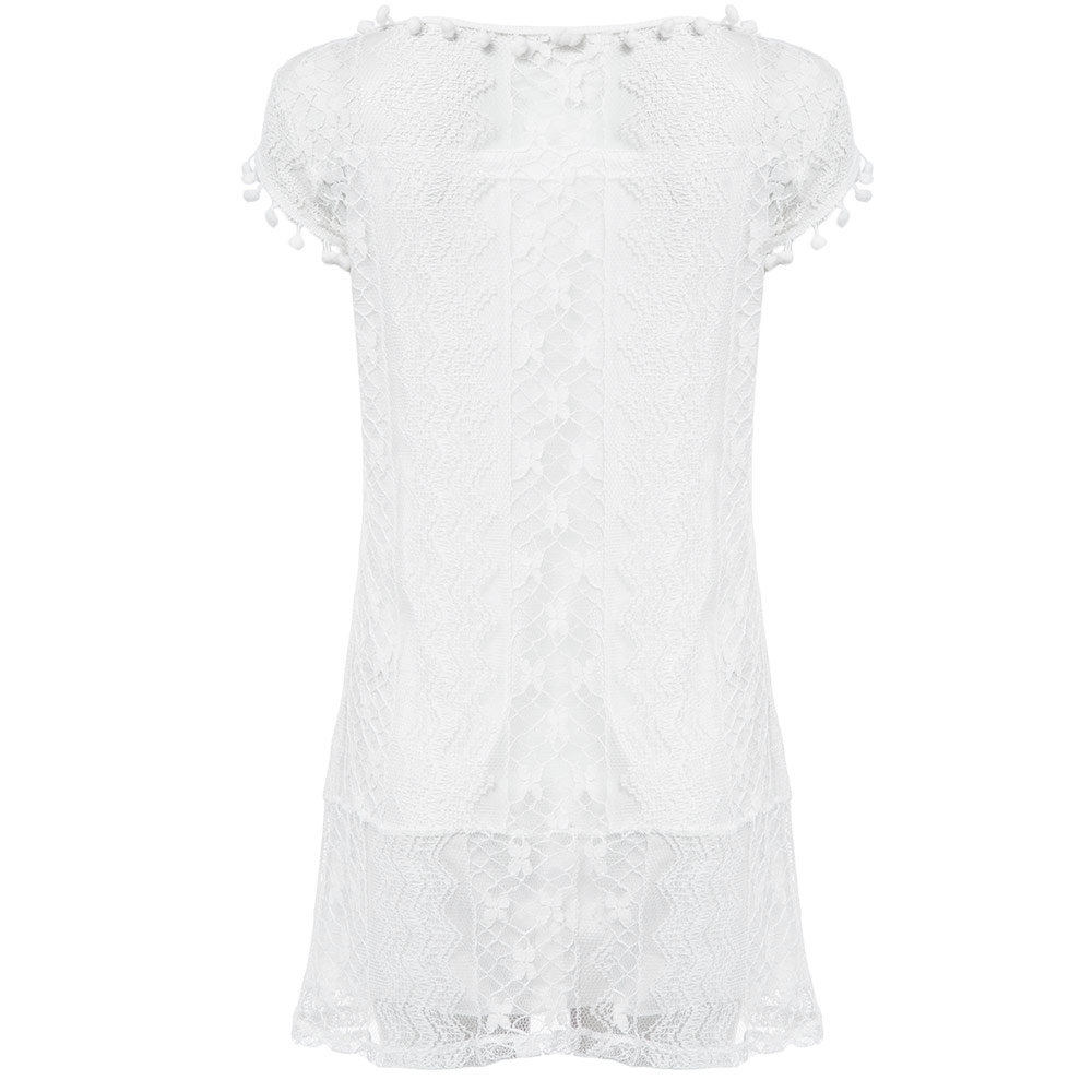VESTLINDA Lace Dress Women O Neck Sleeveless Solid White Dress Summer 2017 Fresh Style Loose Mini Short Dress Vestidos Plus Size 12