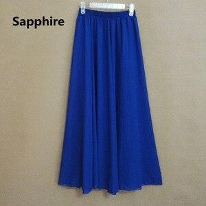Image 4 - שיפון מגניב של נשים אלסטיים מותן גבירותיי ארוך מוצק צבע אלגנטי חצאית אביב ובקיץ סתיו קפלים falda SK71