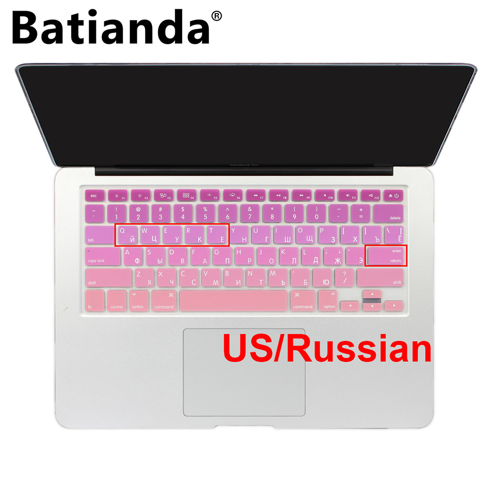 Gradient Color Ukraine Russian Silicone US Keyboard Cover For Macbook Air 13 Macbook Pro 13 15 17 Retina Skin Protector Stickers купить в Москве 2019